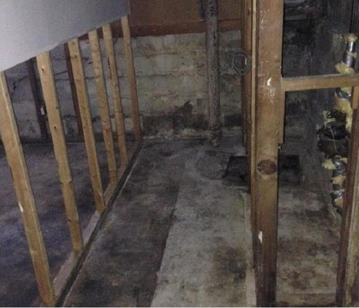 Flood cuts performed in a basement due to flood damage
